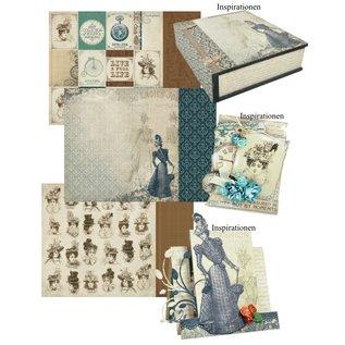 Designer Papier Scrapbooking: 30,5 x 30,5 cm Papier Creative SET No.1: Couture Collection + 1 + 1 basiskaart tip Dekoband!