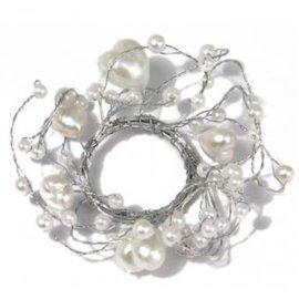 Embellishments / Verzierungen Pearl Ring med hjerter ring diameter 3 cm, PVC boks 1 stk, hvit