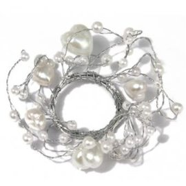 Embellishments / Verzierungen Pearl Ring with hearts ring diameter 3 cm, PVC box 1 piece, white