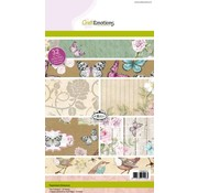Crealies und CraftEmotions SPECIAL OFFER: Kraftblockblock, Botanical Druck, 32 sheets A5