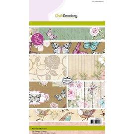 Craftemotions Kraftpapirblokk, botanisk trykk, 32 ark A5