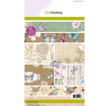 Crealies und CraftEmotions RABAT: Kraft blok Botanisk tryk, 32 bue A5