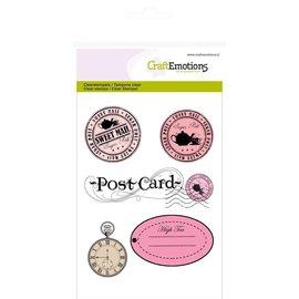 Crealies und CraftEmotions Gennemsigtige frimærker A6, Etiketter + Postkort