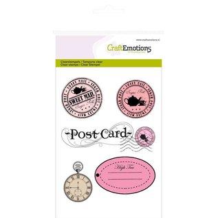 Craftemotions Transparent stamps A6, Labels + Postcard