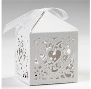 Dekoration Schachtel Gestalten / Boxe ... 12 dekorative Schachteln, 5,3x5,3 cm, weiß, mit Herz