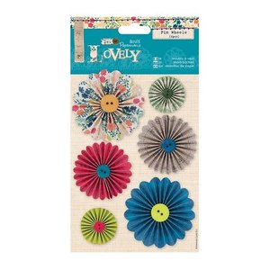 """Embellishments / Verzierungen 6 pinwheels decorated with buttons """"Sew Lovely"""""""