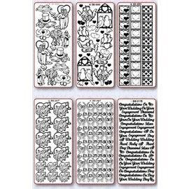 STICKER / AUTOCOLLANT Stickerset: 6 forskellige dekorative mærkat, Emne: bryllup, kærlighed