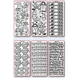 Sticker Stickerset: 6 verschillende decoratieve sticker, Topic: huwelijk, liefde