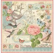"""GRAPHIC 45 Designer Paper """"Tea Botanico"""", 30,5 x 30,5 centimetri"""