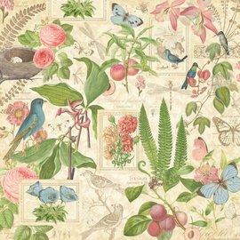 """GRAPHIC 45 Designer papir """"Botanisk Tea - Spring Duet"""", 30,5 x 30,5 cm"""