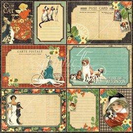 """GRAPHIC 45 Designer papir """"regner katter og hunder - firbente venn"""", 30,5 x 30,5 cm"""