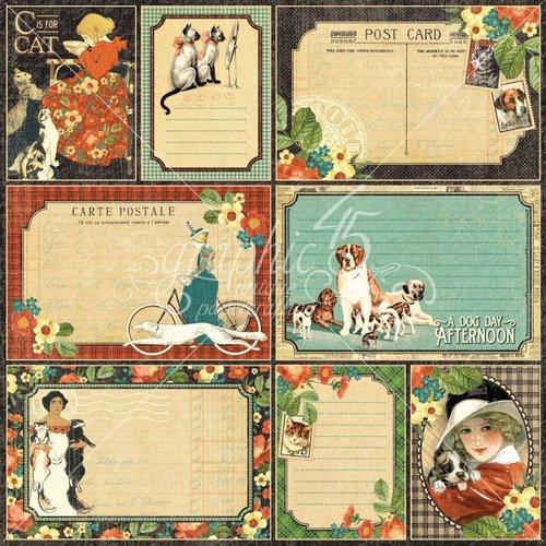 "GRAPHIC 45 Designer Paper ""Raining Cats and Dogs - viervoeter"", 30,5 x 30,5 cm"