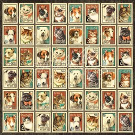 """GRAPHIC 45 Designer Paper """"Raining Cats and Dogs - Mr. Whiskers"""", 30.5 x 30.5 cm"""