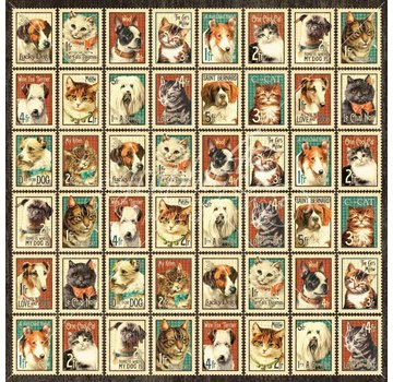 """GRAPHIC 45 Designer Paper """"Raining Cats and Dogs - Mr. Whiskers"""", 30,5 x 30,5 cm"""