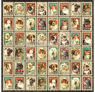 """GRAPHIC 45 Designer papir """"Raining Cats og Hunde - Mr. Whiskers"""", 30,5 x 30,5 cm"""