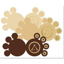 KARTEN und Zubehör / Cards 3 patas tarjetas de lujo, oro laminado, marrón, beige, crema