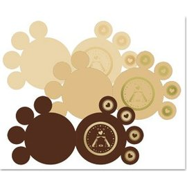 KARTEN und Zubehör / Cards 3 pattes DeLuxe cartes, or laminé, brun, beige, crème