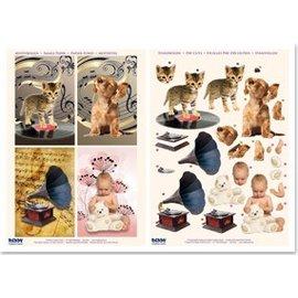 Bilder, 3D Bilder und ausgestanzte Teile usw... Stanzbogenset voor 4 Kaarten Muziek