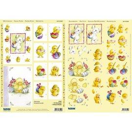 """Bilder, 3D Bilder und ausgestanzte Teile usw... 3D Stanzbogenset """"lapin, le canard et le poulet"""" 1 Scène 1 arc et des feuilles coupées, A4"""
