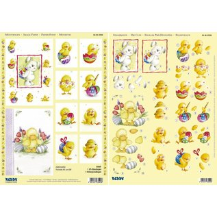 """Bilder, 3D Bilder und ausgestanzte Teile usw... 3D-Stanzbogenset """"Häschen, Ente und Küken"""", 1 Motivbogen und 1 Stanzbogen, Format A4"""