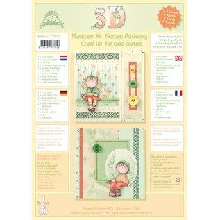 Leane Creatief - Lea'bilities und By Lene Kaarten met enveloppen - 3D kit Bambinie's - groen / goud