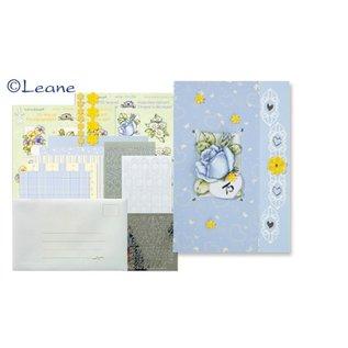 BASTELSETS / CRAFT KITS Karten Bastelpackung mit Spitze Sticker und Blumen Motive