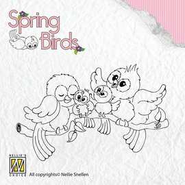 Nellie Snellen Transparent Stempel, Spring-birds Happy Family