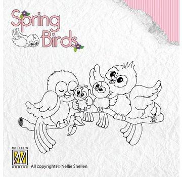 Nellie Snellen Timbri trasparenti, uccelli di primavera Happy Family