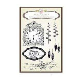 Stempel / Stamp: Transparent Anna Marie Designs, stempel, Rose klok instellen om de punch template Klok overeenkomen