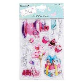 Stempel / Stamp: Transparent Clear stempels, Lucy Cromwell - Bunting, 10 ontwerpen, theekopjes en bloemen