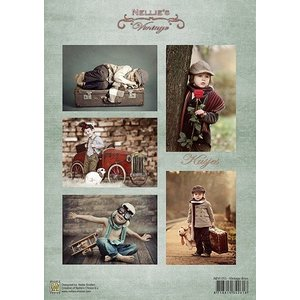 Nellie Snellen Découpage feuilles A4 - Vintage garçons