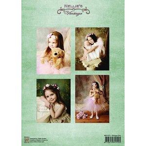 Nellie Snellen Découpage des feuilles A4 - Vintage filles