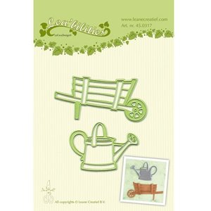 Leane Creatief - Lea'bilities und By Lene Ponsen - en embossing stencil, tuin kruiwagen en waterkan