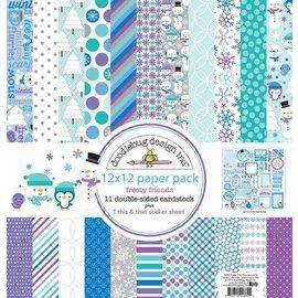 Designer Papier Scrapbooking: 30,5 x 30,5 cm Papier Diseñador de bloques, bloques de papel, Doodlebug - Frosty Amigos 30,5 x 30,5 cm