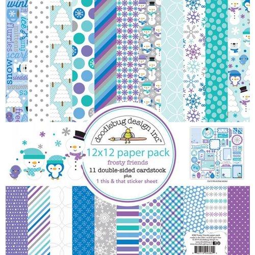 Designer Papier Scrapbooking: 30,5 x 30,5 cm Papier Designer Block, blocs de papier, Doodlebug - Frosty amis 30,5 x 30,5 cm