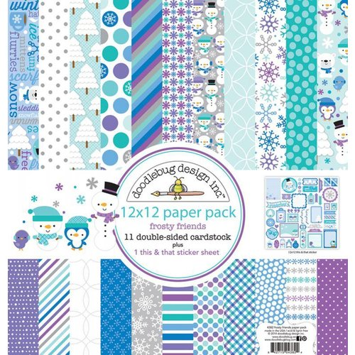 Designer Papier Scrapbooking: 30,5 x 30,5 cm Papier Designer Block, papir blok, Doodlebug - Frosty Friends 30,5 x 30,5 cm