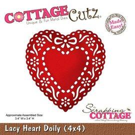 Cottage Cutz Stansing og preging sjablong, Lacy Doily Heart (4x4), brikke hjerte