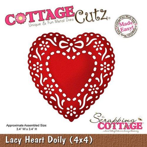 Cottage Cutz Stempelen en embossing stencil, Lacy Doily Hart (4x4), kleedje hart