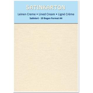 Karten und Scrapbooking Papier, Papier blöcke 10 ark A4, 250gr / kvm, på begge sider med satin linned prægning, creme