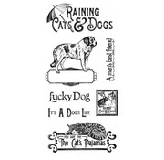 GRAPHIC 45 Rubber Stamp, Raining Cats & Dogs