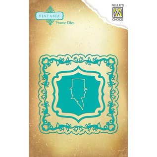Nellie Snellen Vintasia embossing and cutting template, Multi-Patterns, Vintage frame with Silhouette Cameo