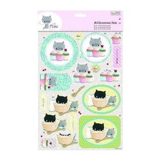 Bilder, 3D Bilder und ausgestanzte Teile usw... A4 Decoupage Pack - Little Meow - Cakes