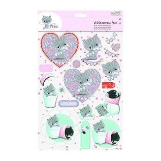 DECOUPAGE AND ACCESSOIRES A4 Decoupage Pack - Little Meow - Friends
