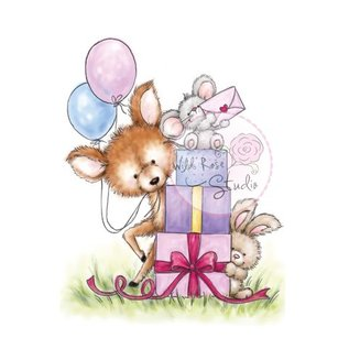Wild Rose Studio`s A7 Stamp Set Mouse on Presents