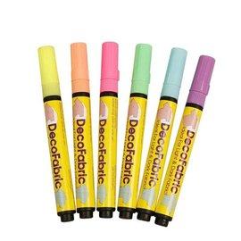 FARBE / STEMPELKISSEN Deco Stoffmalstifte - Sortiment , 3 Strichstärke, neonfarben, 6 sort.