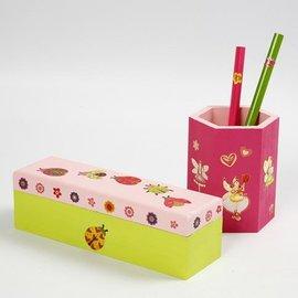 Objekten zum Dekorieren / objects for decorating Bastelset: Stifthalter oder Holzschatulle zum bemalen und verzieren mit Glittersticker