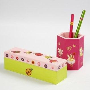 Objekten zum Dekorieren / objects for decorating Bastelset: Stifthalter zum bemalen und verzieren mit Glittersticker