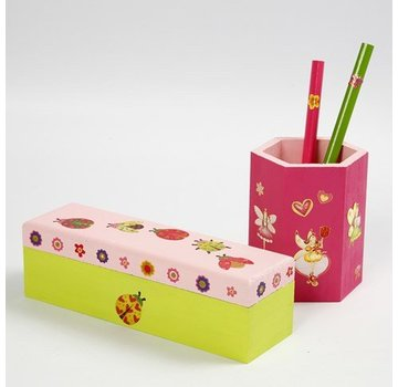 Objekten zum Dekorieren / objects for decorating Bastelset: pen stand or wooden box to paint and decorate with glitter stickers