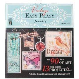 """ModPodge Vintage libro """"Easy Peasy Jewellery"""" con molti motivi d'epoca per creare Charms"""