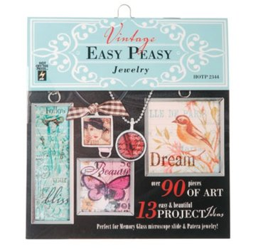 "ModPodge Vintage ""Easy Peasy Jewelery"" book with many vintage motifs for creating charms"